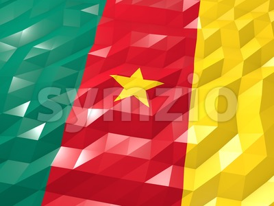 Flag of Cameroon 3D Wallpaper Illustration Stock Photo