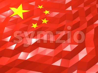 Flag of China 3D Wallpaper Illustration Stock Photo