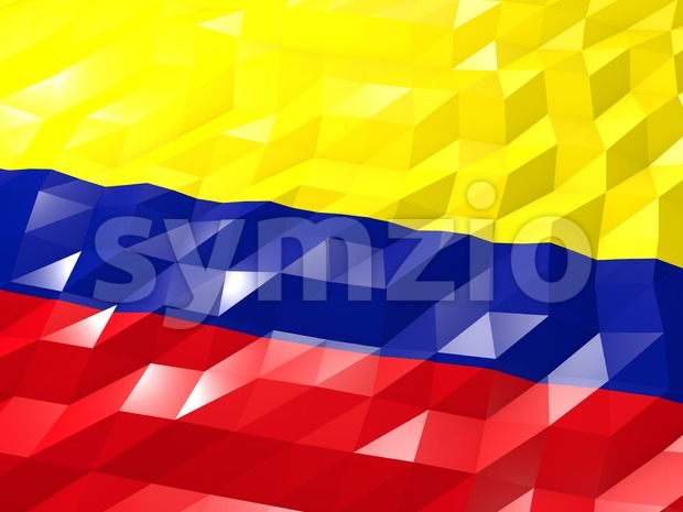 Flag of Colombia 3D Wallpaper Illustration Stock Photo