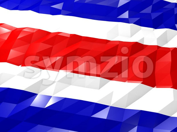 Flag of Costa Rica 3D Wallpaper Illustration, National Symbol, Low Polygonal Glossy Origami Style