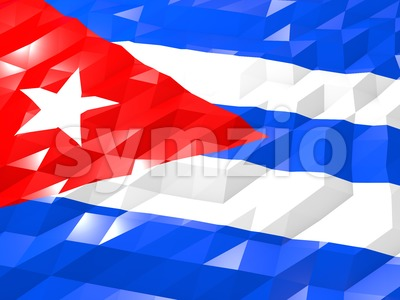 Flag of Cuba 3D Wallpaper Illustration Stock Photo