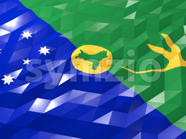 Flag of Christmas Island 3D Wallpaper Illustration, National Symbol, Low Polygonal Glossy Origami Style