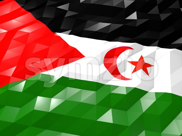 Flag of Western Sahara 3D Wallpaper Illustration, National Symbol, Low Polygonal Glossy Origami Style