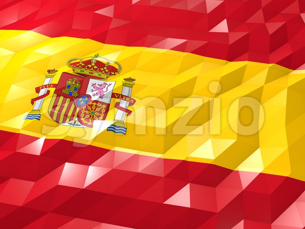 Flag of Spain 3D Wallpaper Illustration Stock Photo