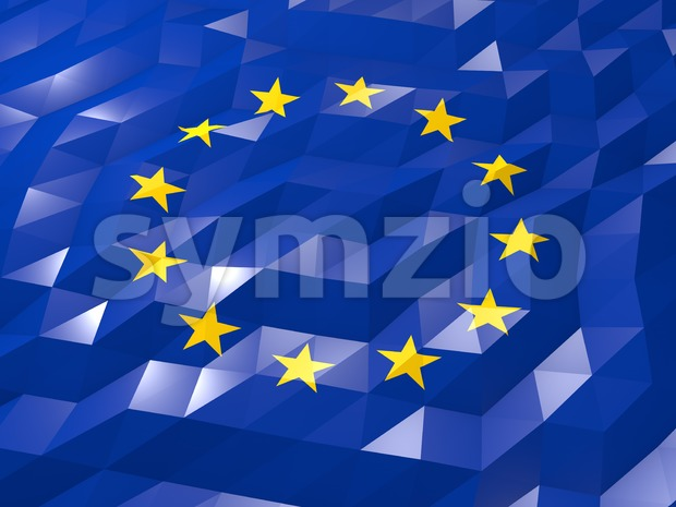 Flag of European Union 3D Wallpaper Illustration Stock Photo