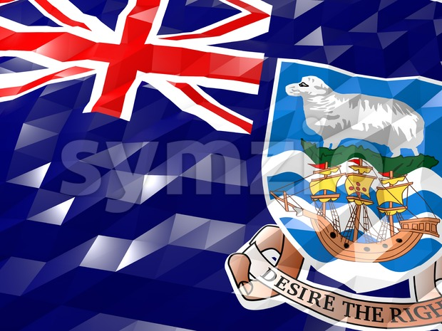 Flag of Falkland Islands 3D Wallpaper Illustration Stock Photo