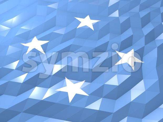 Flag of Micronesia 3D Wallpaper Illustration Stock Photo