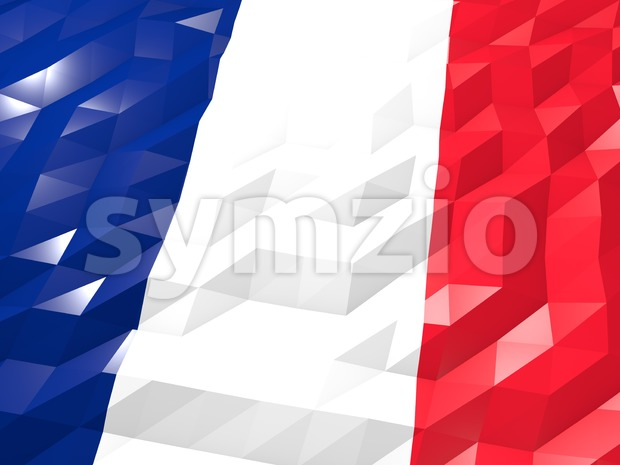 Flag of France 3D Wallpaper Illustration, National Symbol, Low Polygonal Glossy Origami Style