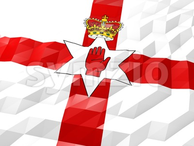Flag of Northern Ireland 3D Wallpaper Illustration Stock Photo