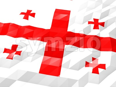 Flag of Georgia 3D Wallpaper Illustration Stock Photo
