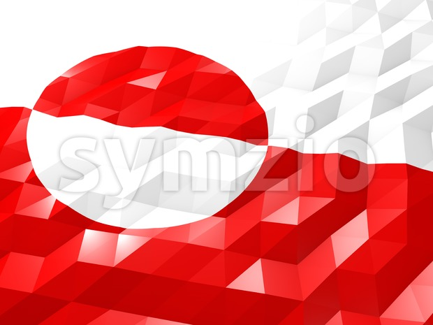 Flag of Greenland 3D Wallpaper Illustration Stock Photo