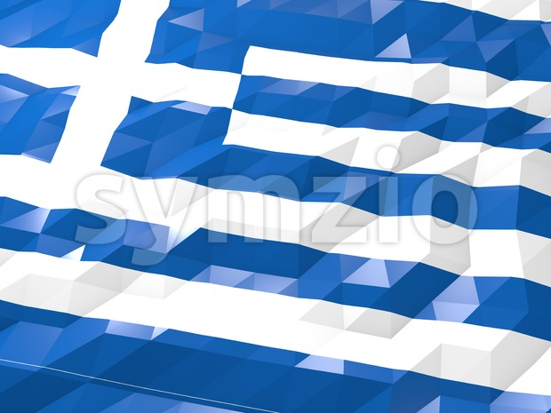 Flag of Greece 3D Wallpaper Illustration Stock Photo