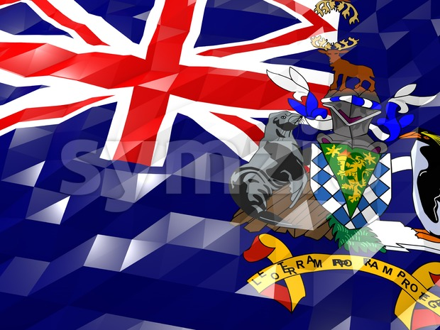 Flag of South Georgia and the South Sandwich Islands 3D Wallpape Stock Photo