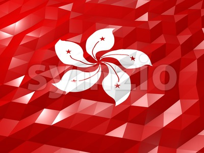 Flag of Hong Kong 3D Wallpaper Illustration Stock Photo
