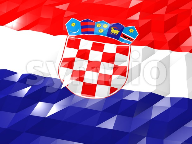 Flag of Croatia 3D Wallpaper Illustration Stock Photo