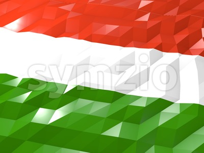 Flag of Hungary 3D Wallpaper Illustration Stock Photo