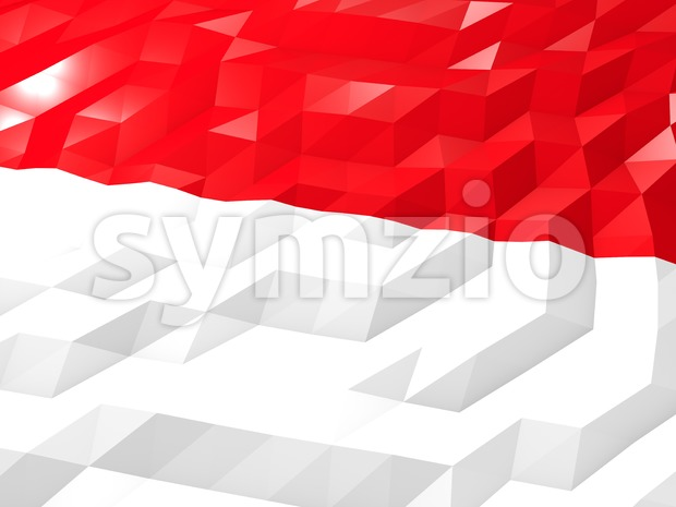 Flag of Indonesia 3D Wallpaper Illustration Stock Photo