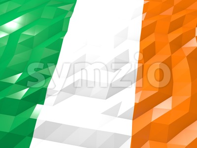 Flag of Ireland 3D Wallpaper Illustration Stock Photo