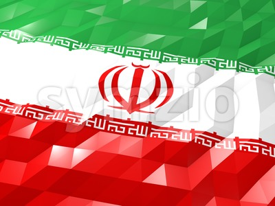 Flag of Iran 3D Wallpaper Illustration Stock Photo