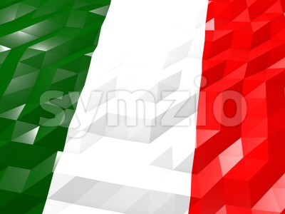Flag of Italy 3D Wallpaper Illustration Stock Photo