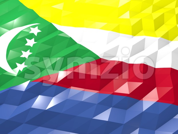 Flag of Comoros 3D Wallpaper Illustration Stock Photo