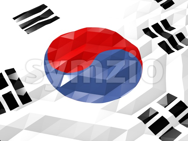 Flag of South Korea 3D Wallpaper Illustration, National Symbol, Low Polygonal Glossy Origami Style