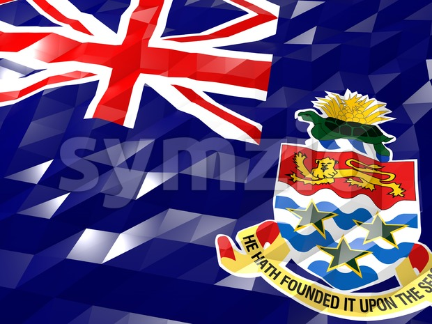 Flag of Cayman Islands 3D Wallpaper Illustration Stock Photo
