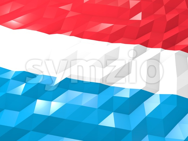 Flag of Luxembourg 3D Wallpaper Illustration Stock Photo