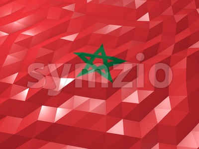 Flag of Morocco 3D Wallpaper Illustration Stock Photo