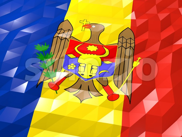 Flag of Moldova 3D Wallpaper Illustration Stock Photo