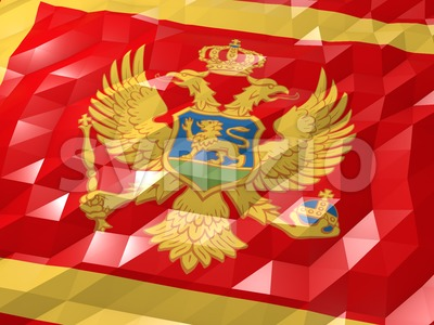 Flag of Montenegro 3D Wallpaper Illustration Stock Photo