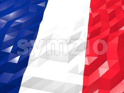 Flag of Saint Martin (French part) 3D Wallpaper Illustration Stock Photo
