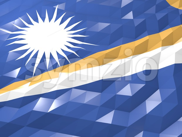 Flag of Marshall Islands 3D Wallpaper Illustration Stock Photo