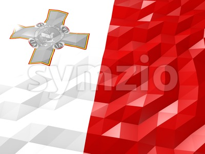 Flag of Malta 3D Wallpaper Illustration Stock Photo