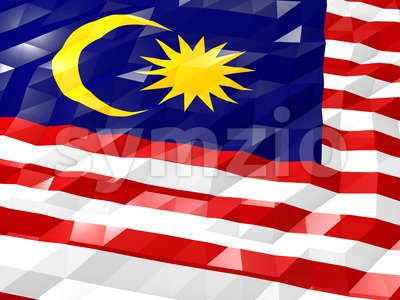 Flag of Malaysia 3D Wallpaper Illustration Stock Photo