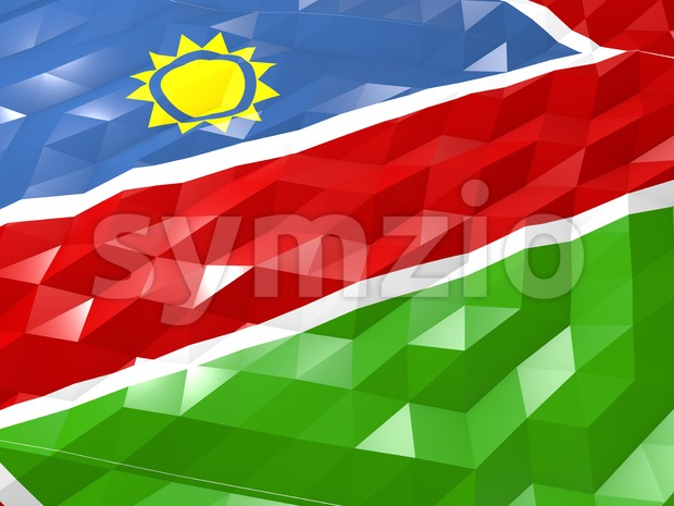 Flag of Namibia 3D Wallpaper Illustration Stock Photo