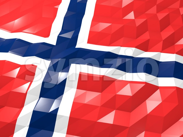 Flag of Norway 3D Wallpaper Illustration Stock Photo
