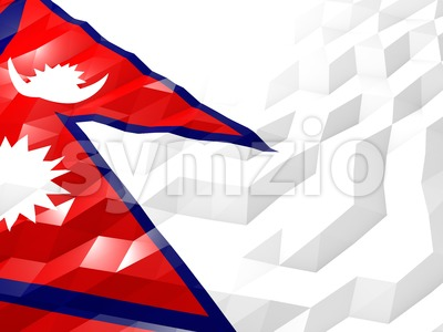 Flag of Nepal 3D Wallpaper Illustration Stock Photo