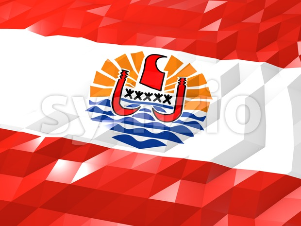 Flag of French Polynesia 3D Wallpaper Illustration Stock Photo