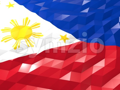 Flag of Philippines 3D Wallpaper Illustration Stock Photo