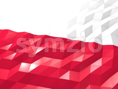 Flag of Poland 3D Wallpaper Illustration Stock Photo