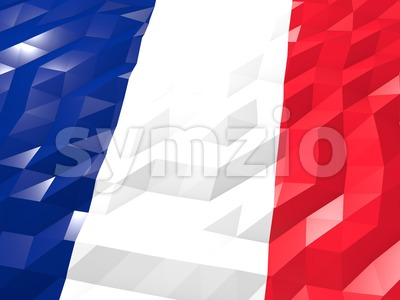 Flag of Saint Pierre and Miquelon 3D Wallpaper Illustration Stock Photo