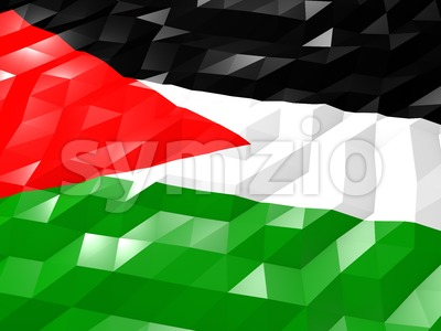 Flag of Palestine 3D Wallpaper Illustration Stock Photo