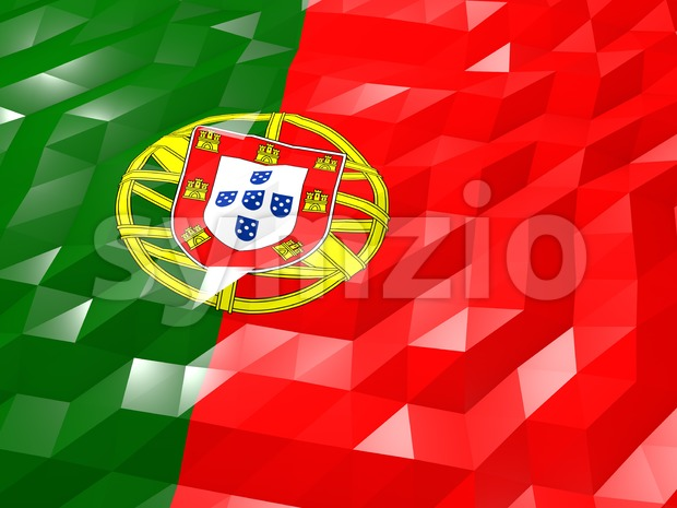 Flag of Portugal 3D Wallpaper Illustration Stock Photo