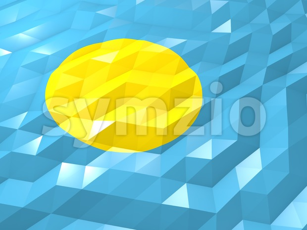 Flag of Palau 3D Wallpaper Illustration, National Symbol, Low Polygonal Glossy Origami Style