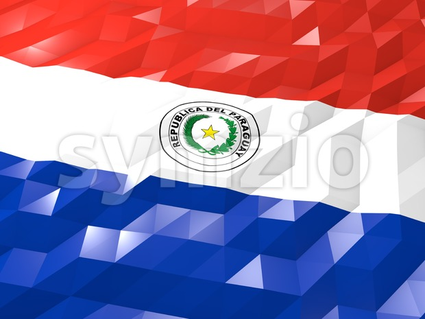 Flag of Paraguay 3D Wallpaper Illustration, National Symbol, Low Polygonal Glossy Origami Style