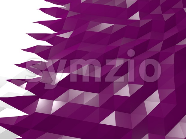 Flag of Qatar 3D Wallpaper Illustration, National Symbol, Low Polygonal Glossy Origami Style