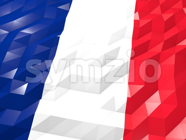 Flag of Réunion 3D Wallpaper Illustration, National Symbol, Low Polygonal Glossy Origami Style