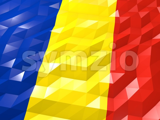 Flag of Romania 3D Wallpaper Illustration, National Symbol, Low Polygonal Glossy Origami Style
