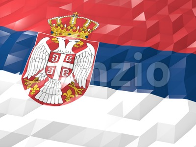 Flag of Serbia 3D Wallpaper Illustration Stock Photo